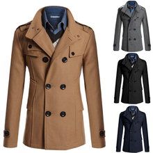 2015 Fashion New Long Trench Coat Men Zipper Double Breasted Slim Fit Pea Coat Winter Trenchcoat Jacket Casaco Masculino(China (Mainland))