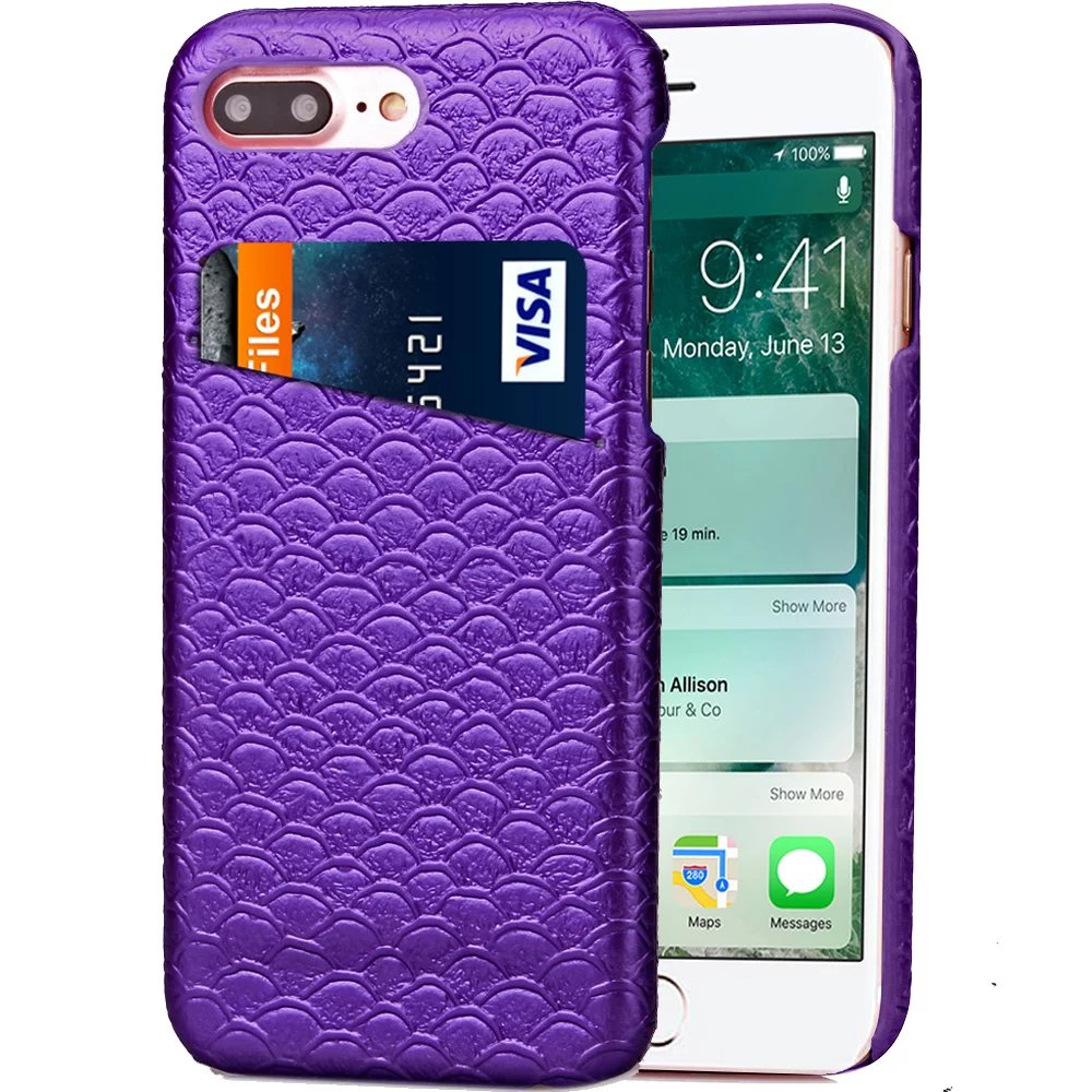 Leather Case for Iphone 7 7plus 4.7 5.5 Cover Luxury Smart Card Mermaid Grid Royal Bump Scale Lavender Upscale Gold Violet New(China (Mainland))