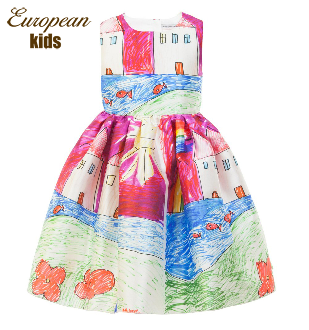Brand Designer Baby Girl Dress 2015 Fashion Baby Girl Clothes Character Painting Kids Party Dresses for Girls Children Clothing(China (Mainland))