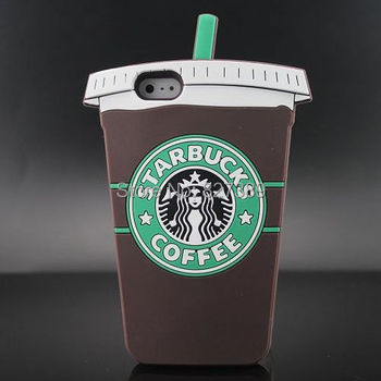 Hot Selling Starbucks Coffee Cups Design Silicone Rubber Case Cover For iPhone 5 5s