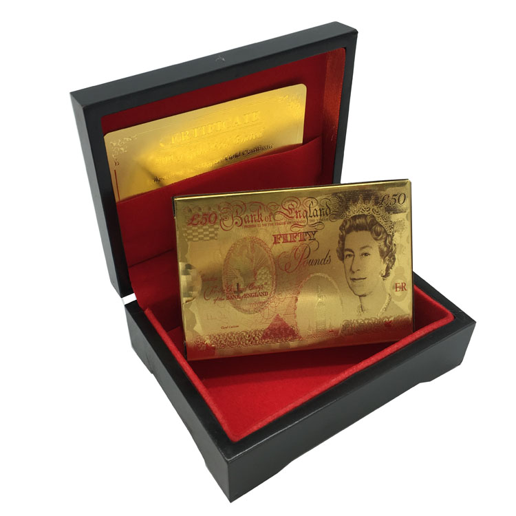 Gold Plated Poker Cards Full Color Printed British 50 Pound With Wooden Box, UK Gold Playing Cards Outdoor Games Favorite Cards(China (Mainland))