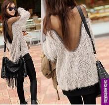FREE SHIPPING 2014 Hot Women Tops Fashion Sweater Sexy Raglan Sleeve Transparent Mesh Fur Korean White Sweater(China (Mainland))