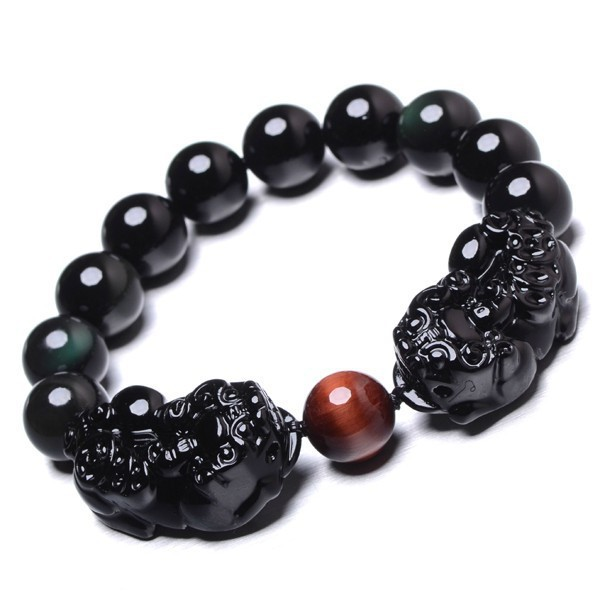 Fine Obsidian Eyes Brave Men And Women Of The Rainbow Crystal Bracelet Hand Strung Lucky Evil Crystal Jewelry Wholesale(China (Mainland))