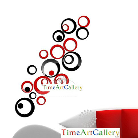 Home decoration modern design!Mirrored black&red rings wall stickers,3D interior ornamentation living room,!F88 - Time Art Gallery----Bring walls to your life ! store