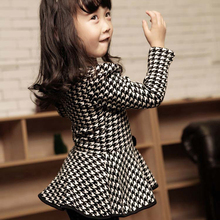 Spring Autumn Pearl Necklace Houndstooth Children Girl Blouse Long Sleeve Bow Tops Slim Dress(China (Mainland))