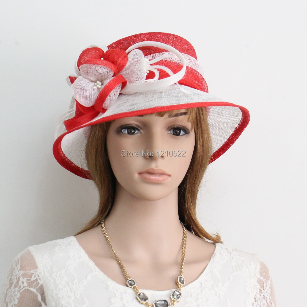 New Woman Church Kentucky Derby Wedding Sinamay Dress Hat YM045Red&White(China (Mainland))