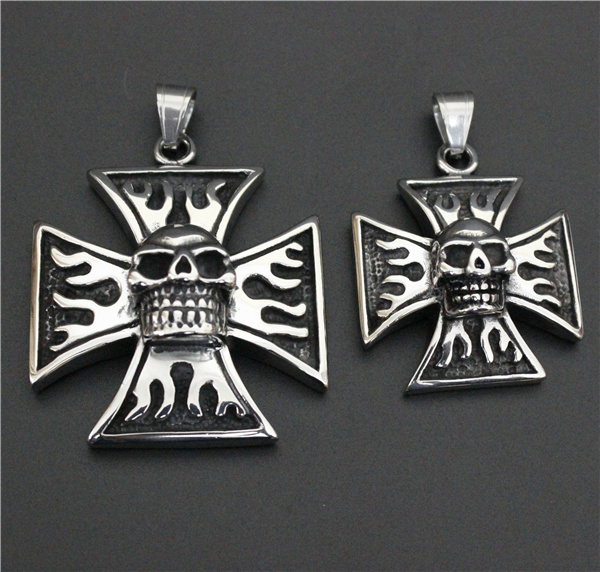 Newest Design Big Small Fire Ghost Skull Pendant 316L Stainless Steel Biker Style Cool Cross Man Pendant(China (Mainland))