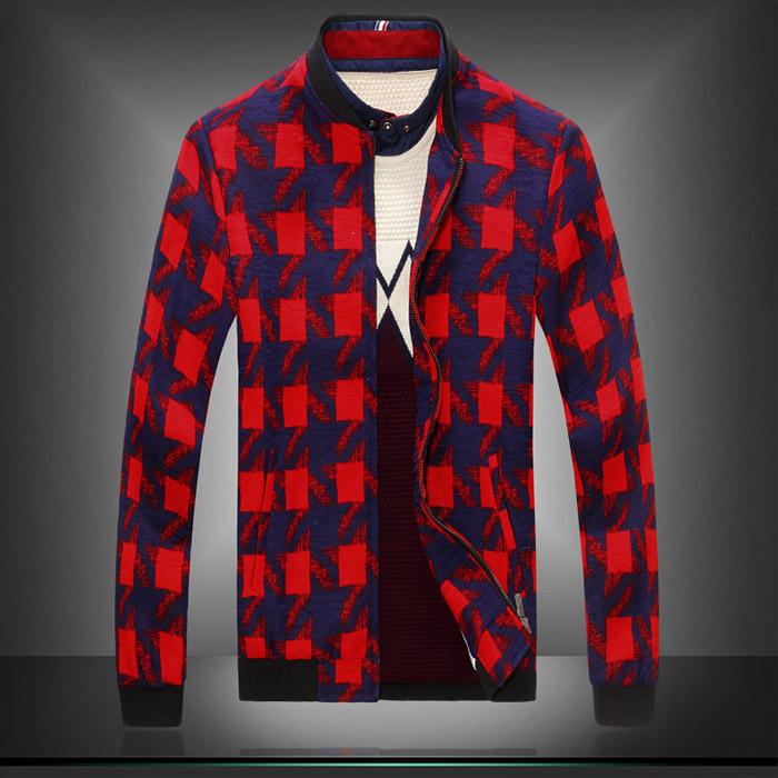 Men Plaid Red Casual Jackets Plus Size M-3XL 2015 New Arrival Spring Slim Brand Baseball Jacket J1301(China (Mainland))