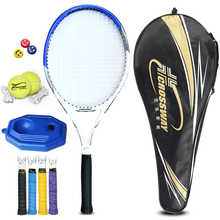 CROSSWAY Professional Tennis Racket Single Adult Carbon Paddle Men Women Universal Set With Bag Trainer Overgrip Ball Padel(China)