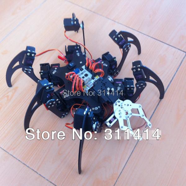 1set Arduino Aluminum 6Foot Spider robot 20DOF Six Legs Robot Frame Kit Set With Mechanical Gripper Promotion + Free Shipping(China (Mainland))