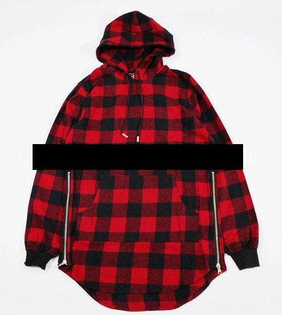 Mens fashion side zipper designer hooded plaid flannel for Flannel shirt red black