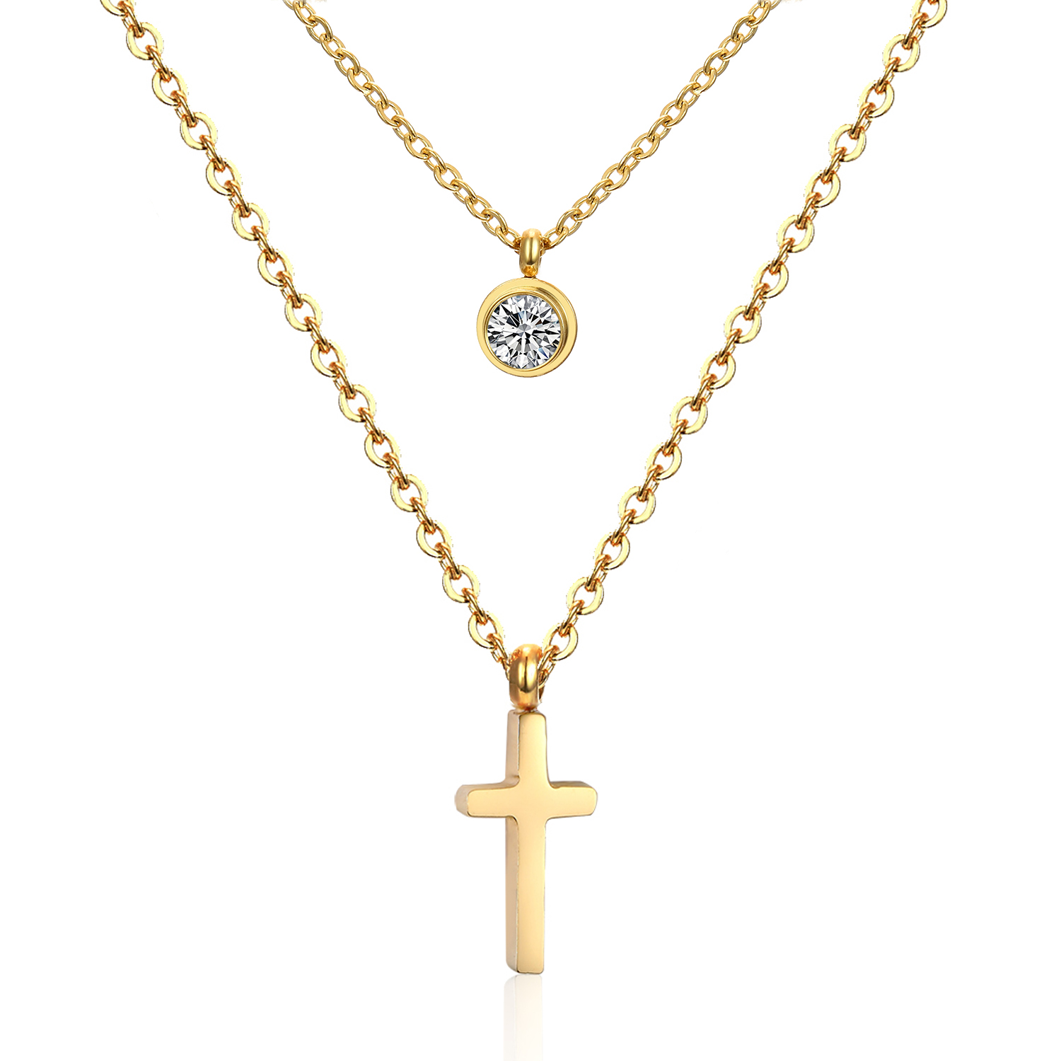Hot 18K Gold Plated Double Necklace 316L Stainless Steel Chain Double Necklace With Cross Pendant and CZ Diamond(China (Mainland))