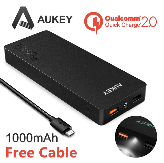 Aukey Quick Charge 2.0 10000mAh Portable power bank cellphone External Battery Fast Charger for Samsung Galaxy S6/S6 Edge