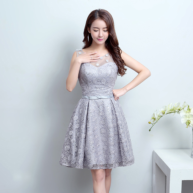 women dresses free shipping lady dresses fashion/trendy lace (polyester) A-Line Prom Dresses gray big size dresses for women(China (Mainland))