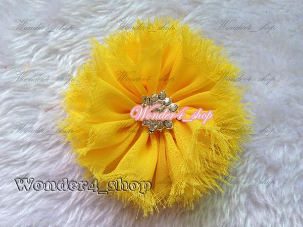 hair accessory 50 Chiffon Frayed Shabby Flowers Crystal Crystal Center DIY Flat Back Christmas Gift 15colors<br><br>Aliexpress