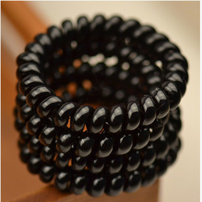30PCS Women Ladies Black Hair Bands Black Elastic Rubber Telephone Wire Style Hair Ties & Plastic Rope Hair Ring Accessories(China (Mainland))