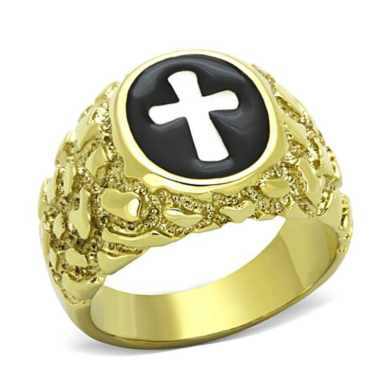 New Arrivals IP Gold (Ion Plating) Stainless Steel 316 Holy Cross Ring High Polished Men's Party Ring Lead Free Fashion(China (Mainland))