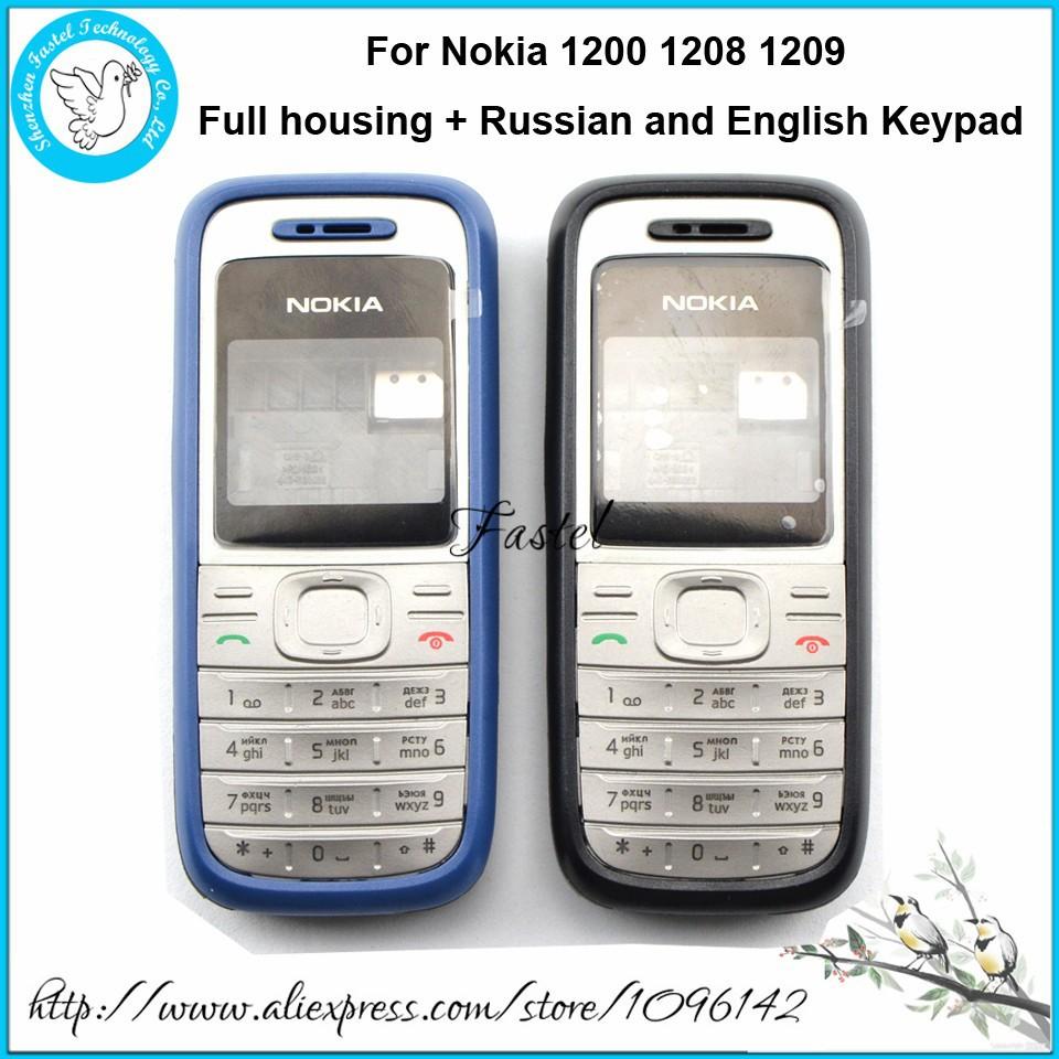 новый полный мобильный телефон Nokia 1200/1208/1209 жилищного строительства покрытия случае + английский или русский клавиатура + инструменты