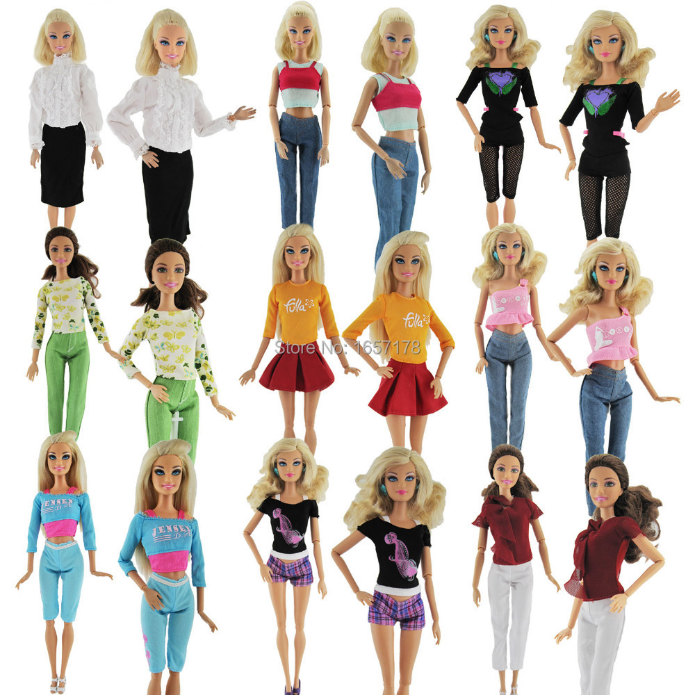 A Lot = 5 Sets Fashion Lady Outfit Fashion Wear Blouse Trousers Shorts Pants Skirt Clothes For Barbie Doll Randomly Pick(China (Mainland))