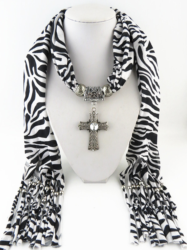 2015 Fashion Ladies Scarf Jewelry Cross Pattern Pendant Shaped Women Necklace Scarves Zebra Tassels Design - Shenzhen Sundah Tech Co., Ltd.(Craft & Gift Dept. store)