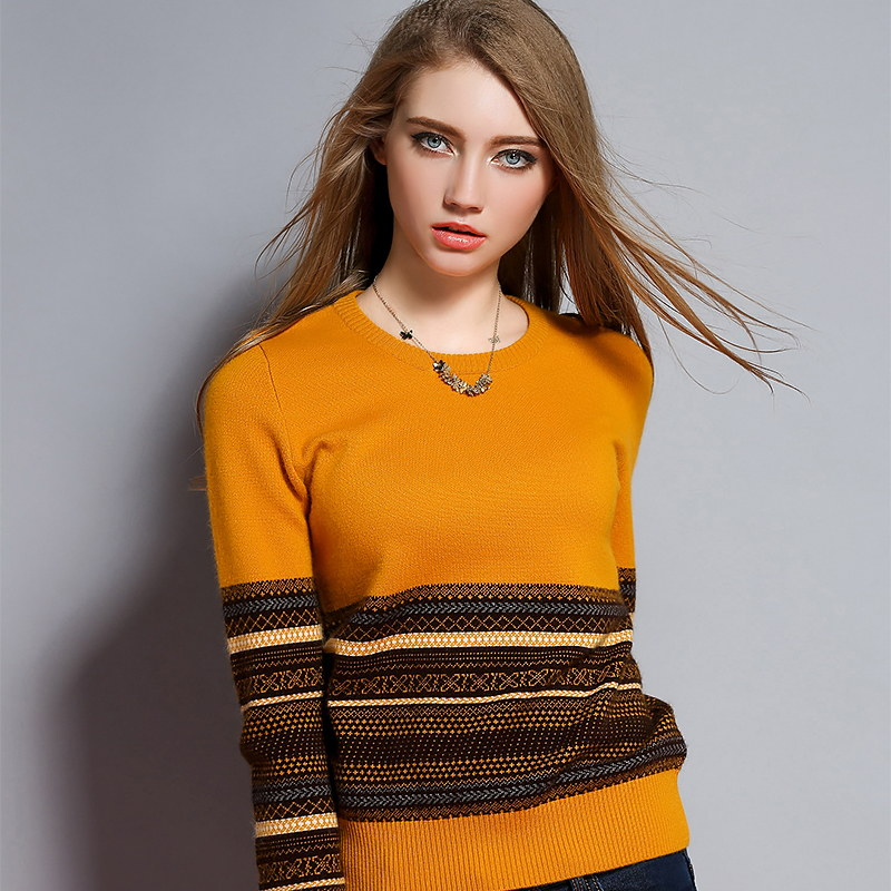 High-End 2015 HOT Brand New 100 Cashmere Womens Sweaters O-neck Cashmere Sweater Nordic Striped Pullover Jumper Pure CasualОдежда и ак�е��уары<br><br><br>Aliexpress