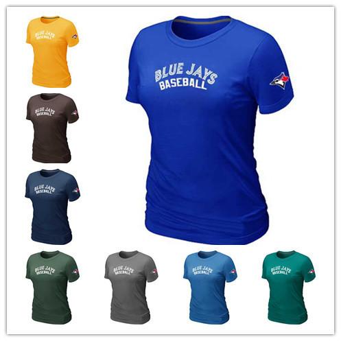 Cheap Toronto Blue Jays Women Baseball T Shirt Short Sleeve Practice T-shirt wholesale Cotton Blue Jays Tees Shirts 14 Colors(China (Mainland))