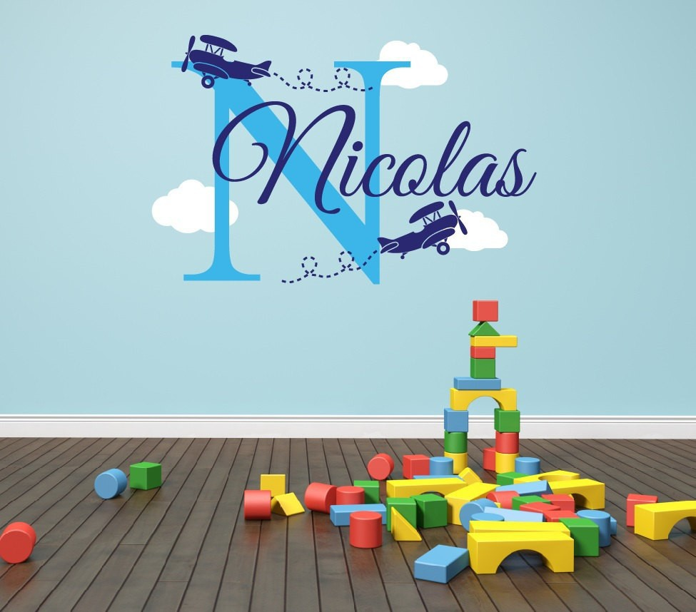 Customer-made Personalized Airplane Name Clouds Decal Nursery Decor - Childs Room Decor Vinyl-You Choose Name and Color(China (Mainland))