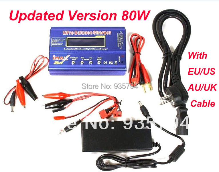 Free shipping Upgrade to 80W Digital 1-6S Lipo NiCd NiMh Life A123 Battery IMAX B6 Balance Charger with AC POWER 12V 5A Adapter(China (Mainland))