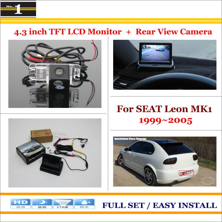 """4.3"""" TFT LCD Monitor + Car Rearview Back Up Camera = 2 in 1 Car Parking System - For SEAT Leon MK1 1999~2005(China (Mainland))"""