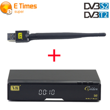 V8 Golden Satellite Receiver With 1 piese USB WIFI 1080P Full HD DVB-S2/T2/Cable Support IPTV Youtube Youporn Satellite Receiver