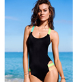 2016 Women s Pattern Print Sexy One piece Swimsuit Backless Swimwear with Padded Push Up Bandage