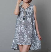 2015 new fashion summer plus size loose o-neck long tank vest dress sleeveless one-piece dresses female(China (Mainland))