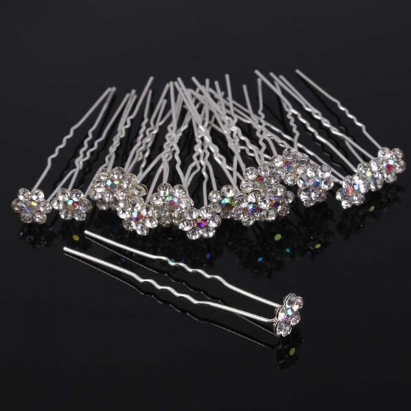 20pcs Bling Rhinestone Plum U-shaped Hair Pins Hair Clip Dress Accessories Wedding Bridal Hair Pins(China (Mainland))