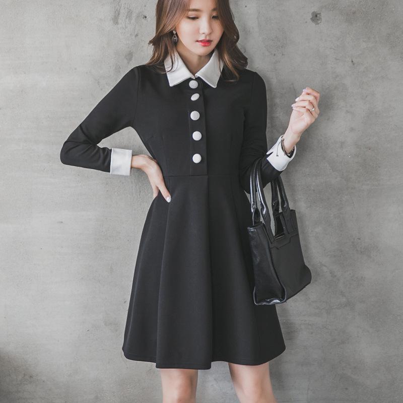 Winter Dress Autumn And Winter Women New A Line Doll Collar Korean Long Sleeved Dress Black Knee Length New Fashion F6784(China (Mainland))