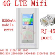 unlocked 4g wifi router pocket with rj45 port usb 5200mAh Power Bank Wifi Router Wireless hotsport mifi Dongle pk e5372 e579(China (Mainland))