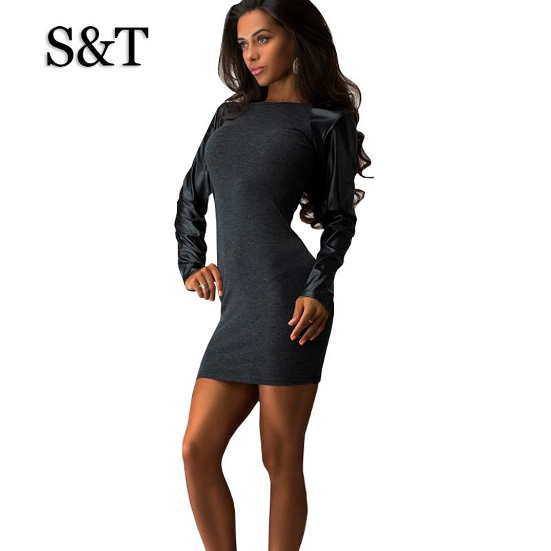Model Sheath Dress Little Black Long Sleeve Party Dresses Women Clothing