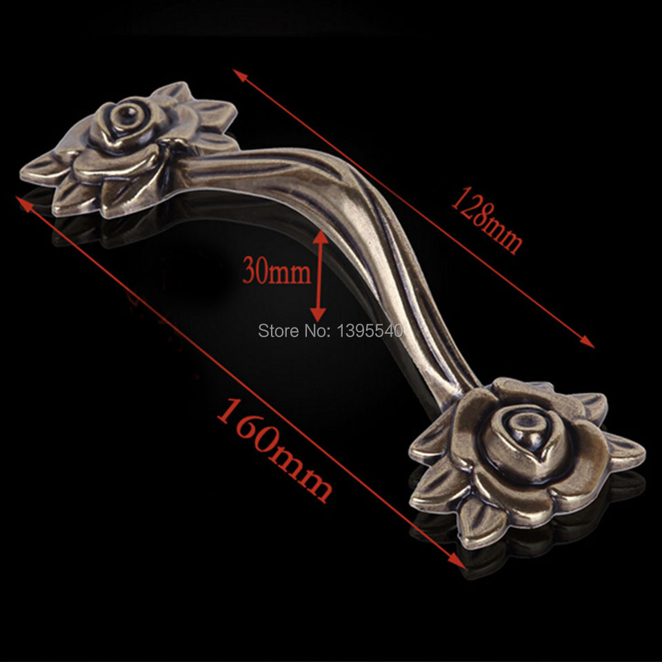 New128mm Bronze Zinc Alloy Rose Kitchen Cabinet Handle Antique Cabinet Drawer Handle&amp;Knob Eur-Style Furniture Hardware Bar Pulls<br><br>Aliexpress
