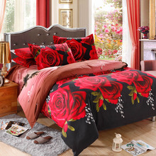 Red Rose Pattern 4Pcs 3D Printed Bedding Set Bedclothes Home Textiles King Size Quilt Cover Bed Sheet 2 Pillowcases(China (Mainland))