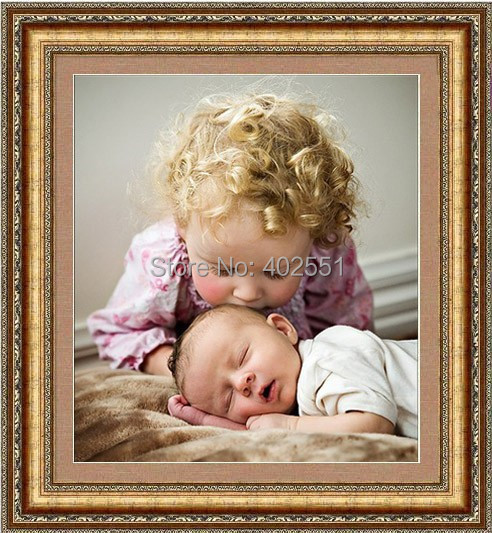 Free shipping DIY diamond painting diamond cross stitch kit Inlaid decorative painting Diamond embroidery Children Kiss handmade(China (Mainland))