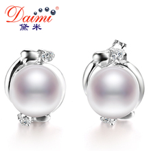 DAIMI Pearl Ethnic Earrings Real 7-8 mm / 8-9 mm White Pearl Earrings Flower Earring For Female Birthday Gift(China (Mainland))