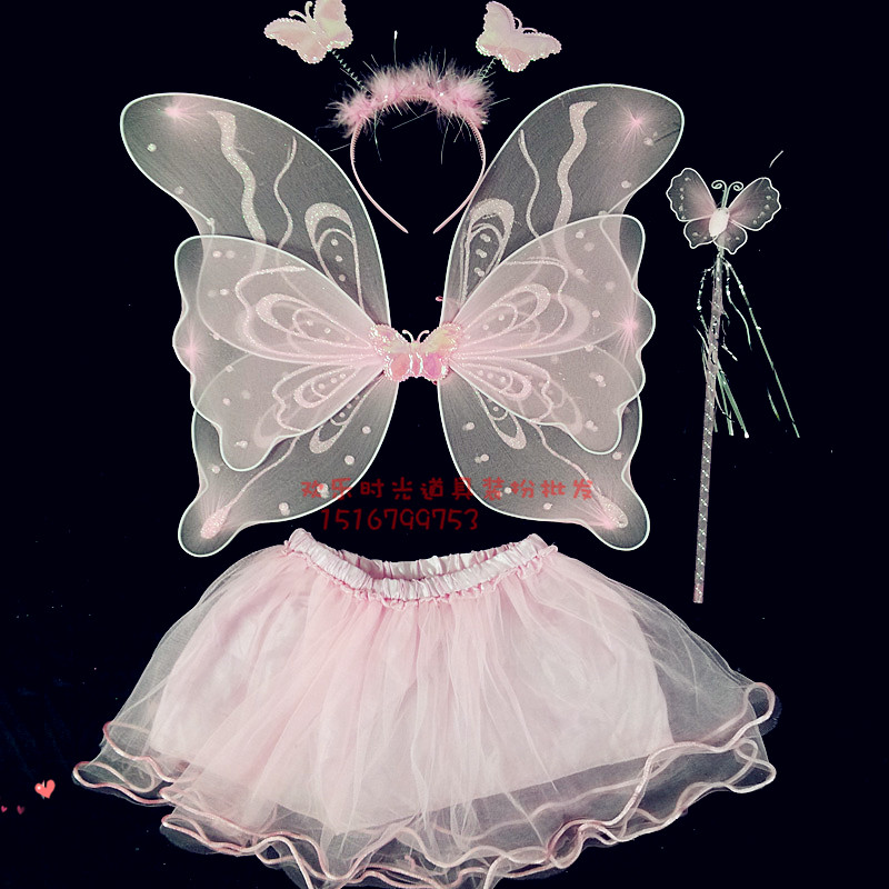 Child dance costume princess dress female child double layer butterfly feather wings set piece(China (Mainland))