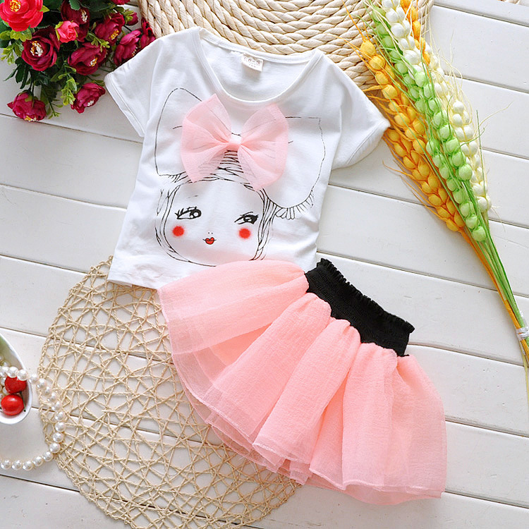 2015 New Baby clothing sets kids short-sleeve shirt +skirt , cartoon pretty girl clothes for 2-5 years old toddler girl clothing(China (Mainland))