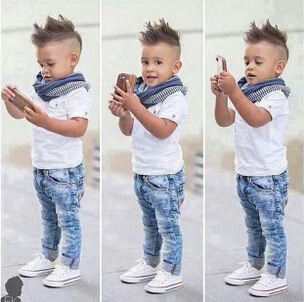 2015 new sumer boy clothes three set jeans+short shirts+scarf clothing suits baby boys clothes fashion sets clothes for boys(China (Mainland))