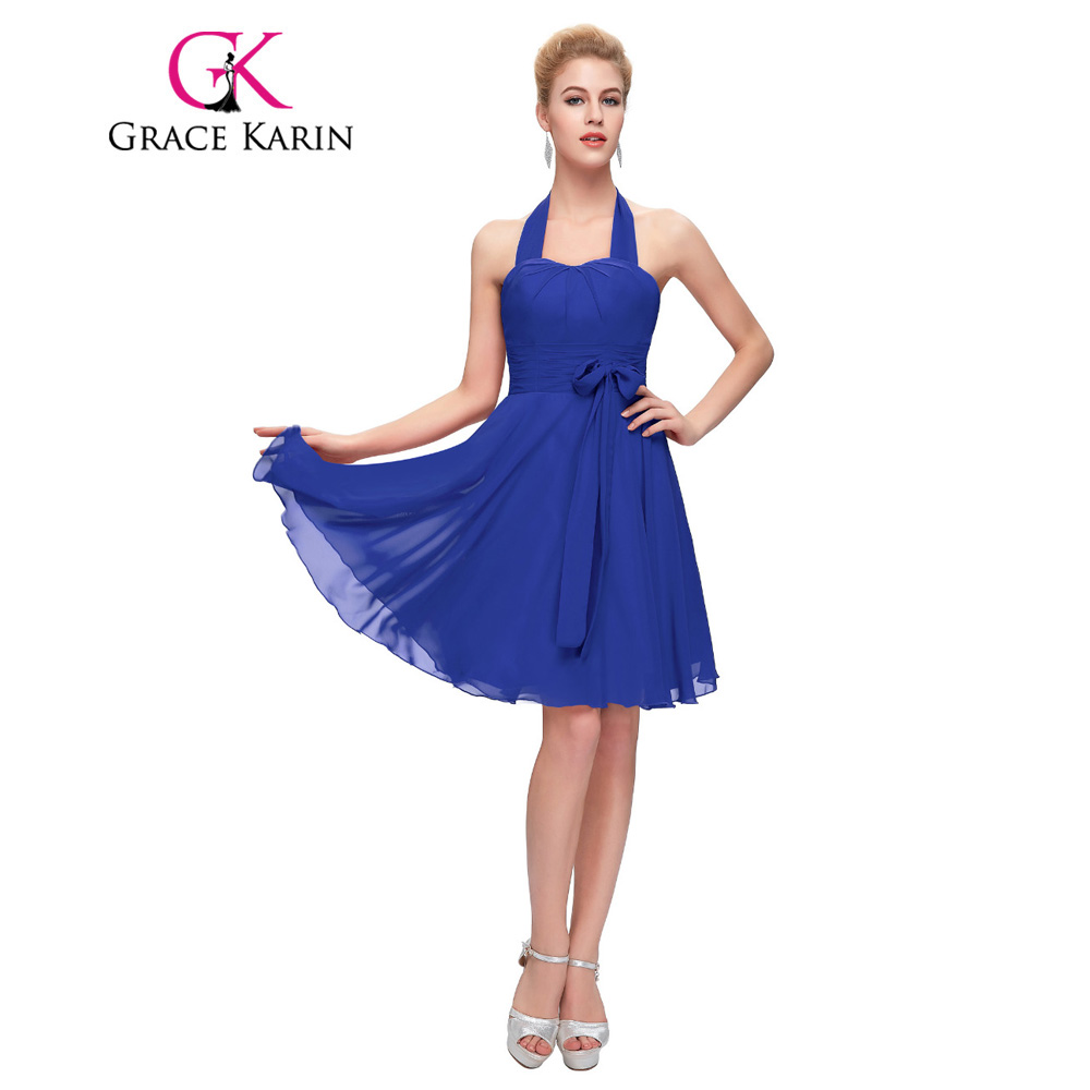 Bridesmaid dresses royal blue picture more detailed picture grace karin bridesmaid dress royal blue red purple halter formal party gowns short chiffon cheap special ombrellifo Choice Image