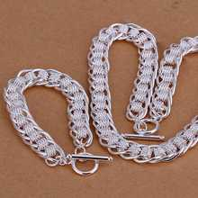 Factory price top quaility 925 sterling silver jewery sets 925 silver necklace bracelet  free shipping SMTS055(China (Mainland))