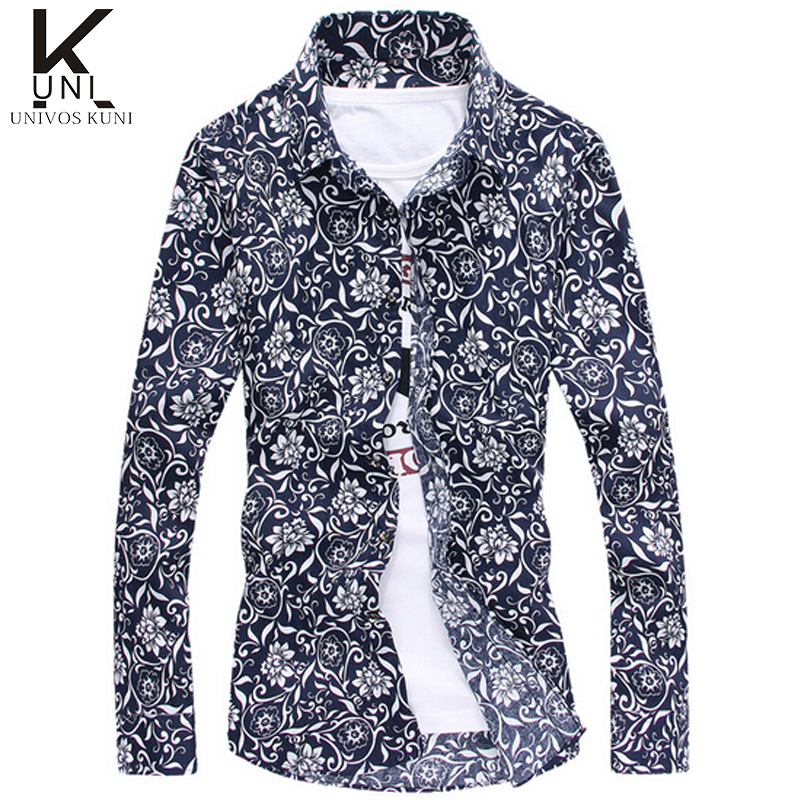 Summer mens floral shirt hawaiian long sleeve slim fit for Mens slim hawaiian shirt