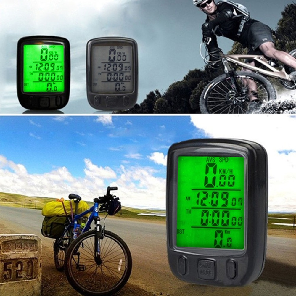 Waterproof LCD Display Cycling Bike Bicycle Computer Odometer Speedometer with Green Backlight free shipping(China (Mainland))