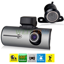 Dual Lens Car DVR Mini X3000 1280*720P 30FPS + G-Sensor + GPS Logger + RearView Camera + Remote Control H.264 2 Camera Dash Cam(China (Mainland))