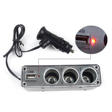 Car Cigarette Lighter 3 Way Auto Socket Splitter 12V Charger Power Adapter PlugDC 12V USB LED light Control Black 60w L0192396
