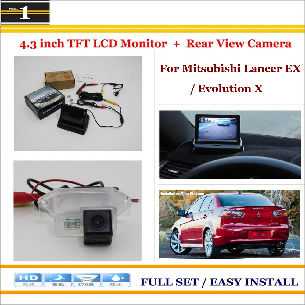 """Auto Rear View Camera Back Up + 4.3"""" LCD Monitor = 2 in 1 Parking Assistance System - For Mitsubishi Lancer EX / Evolution X(China (Mainland))"""